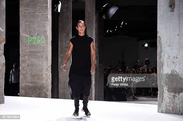 Designer Rick Owens acknwoledges the applause of the audience during the Rick Owens show as part of the Paris Fashion Week Womenswear Spring/Summer...