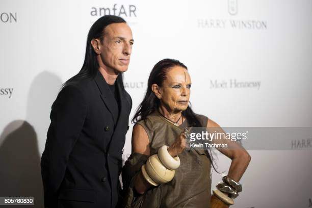 Designer Rick Owens and Michele Lamy arrive for the amfAR Paris Dinner at Le Petit Palais on July 2 2017 in Paris France