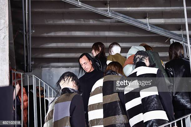 Designer Rick Owens and models walk the runway during the Rick Owens Menswear Fall/Winter 20172018 show as part of Paris Fashion Week on January 19...