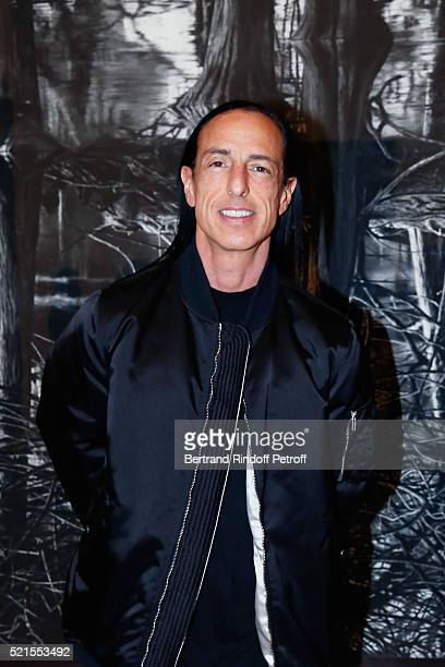Designer Rick Owens attends the Robert Longo Exhibition at Galerie Thaddeus Ropac on April 15 2016 in Paris France