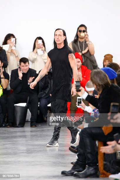 Designer Rick Owens during the Rick Owens Menswear Fall/Winter 20182019 show as part of Paris Fashion Week on January 18 2018 in Paris France