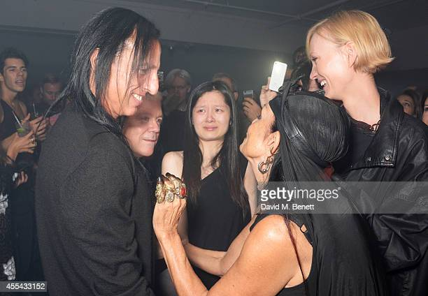 Designer Rick Owens Tim Blanks and Michele Lamy attend the party to celebrate the World of Rick Owens at Selfridges during London Fashion Week at...