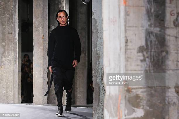 Designer Rick Owens walks the runway after the Rick Owens show as part of the Paris Fashion Week Womenswear Fall/Winter 2016/2017 on March 3 2016 in...