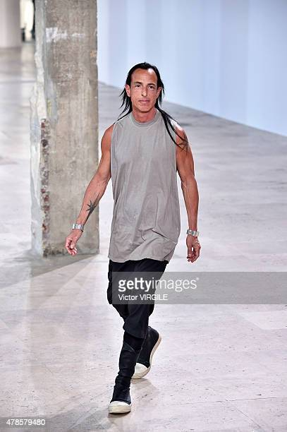 Designer Rick Owens walks the runway during the Rick Owens Ready to Wear Menswear Spring/Summer 2016 show as part of Paris Fashion Week on June 25...