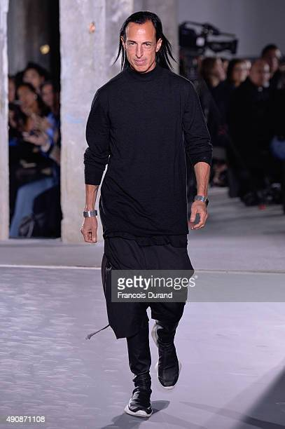 Designer Rick Owens walks the runway during the Rick Owens show as part of the Paris Fashion Week Womenswear Spring/Summer 2016 on October 1 2015 in...