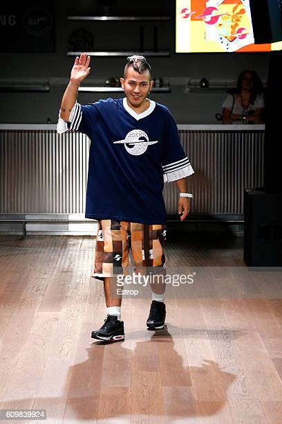 Designer Rio Uribe walks the runway at the Gypsy Sport designed by Rio Uribe show at Samsung 837 on September 11 2016 in New York City