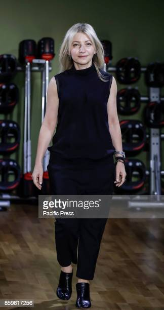 Designer Rita Vinieris walks runway for RIVINI & Alyne Fall/Winter 2018 Bridal Collection by Rita Vinieris at TMPL GYM during New York Bridal week,...