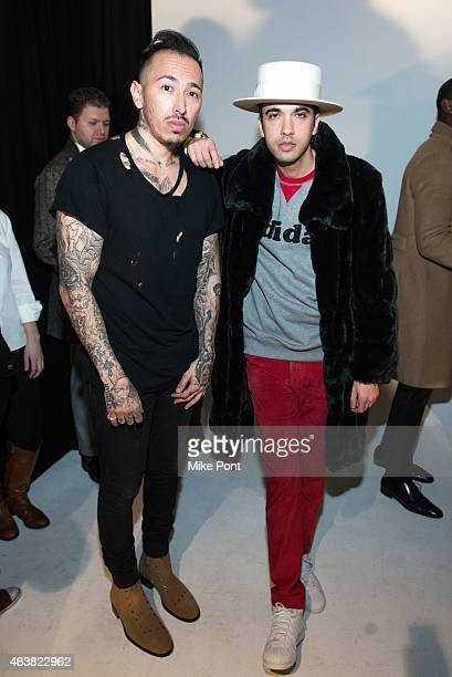 Designer Rob Garcia and DJ Cassidy attend the Rob Garcia Presentation during Mercedes-Benz Fashion Week Fall 2015 on February 18, 2015 in New York...