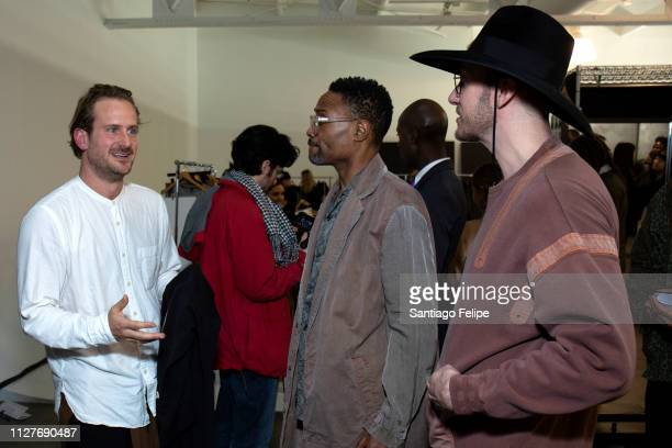 Designer Robert Geller NYFW Men's Ambassador Billy Porter and Adam Smith backstage after the the Robert Geller show during New York Fashion Week...