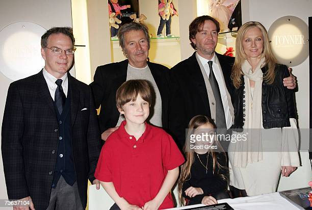 Designer Robert Tonner actor Chris ONeil director Robert Shaye actress Rhiannon Leigh Wryn actor Timothy Hutton and actress Joely Richardson pose for...