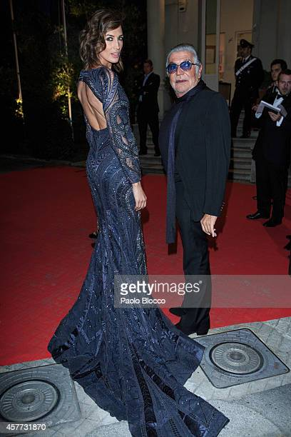 Designer Roberto Cavalli and model Nieves Alvarez are seen arriving to 'Elle Style Awards 2014' at Italian embassy on October 23 2014 in Madrid Spain