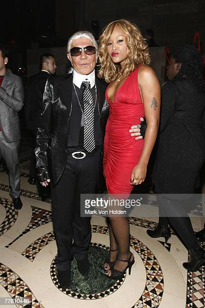 Designer Roberto Cavalli and rapper Evev attend the Roberto Cavalli Vodka and Giuseppe Cipriani Halloween Party at Ciprianis 42nd Street on October...
