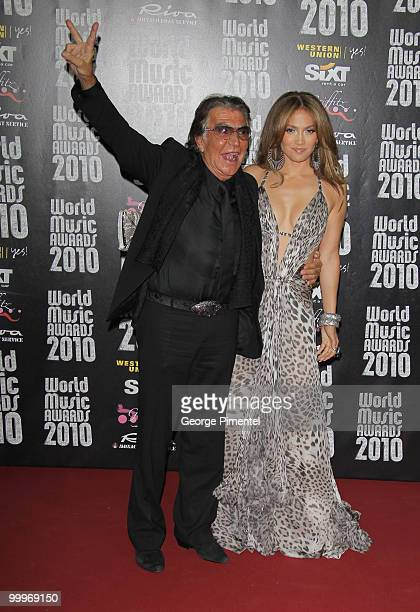 Designer Roberto Cavalli and singer/actress Jennifer Lopez attend the World Music Awards 2010 at the Sporting Club on May 18, 2010 in Monte Carlo,...