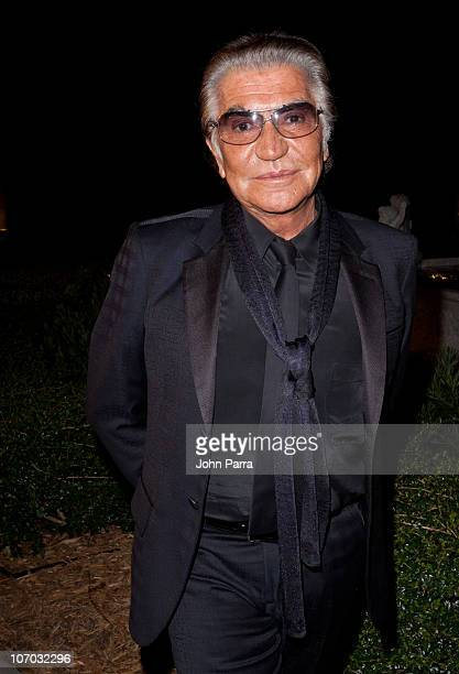 Designer Roberto Cavalli arrives at the Roberto Cavalli's 2011 Spring collection fashion show to benefit the Gloria Estefan Foundation and St Jude's...