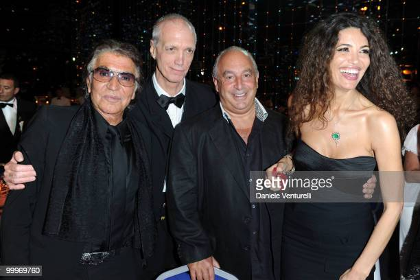 Designer Roberto Cavalli guest Philip Green and Afef Jnifen attend the World Music Awards 2010 at the Sporting Club on May 18 2010 in Monte Carlo...