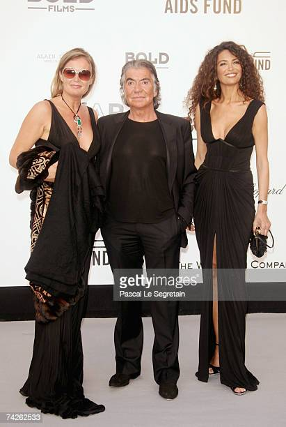 Designer Roberto Cavalli with wife Eva and actress Afef Jnifen arrive at the Cinema Against Aids 2007 in aid of amfAR at Le Moulin de Mougins in...