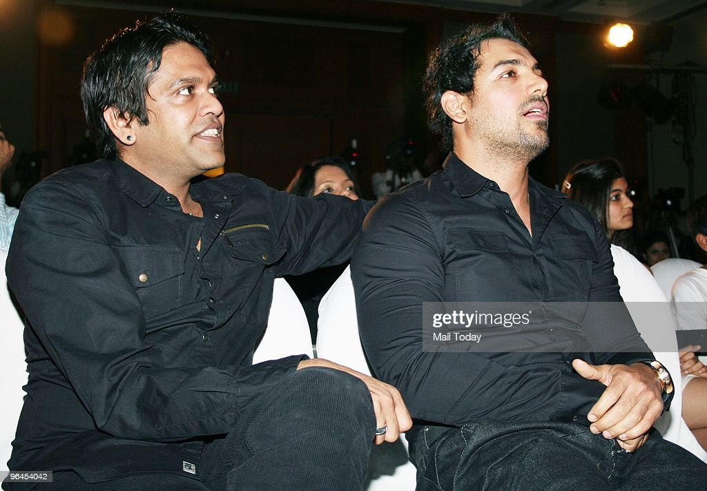 Designer Rocky S and John Abraham at the launch of actress Bipasha Basu`s fitness DVD in Mumbai on February 4 2010