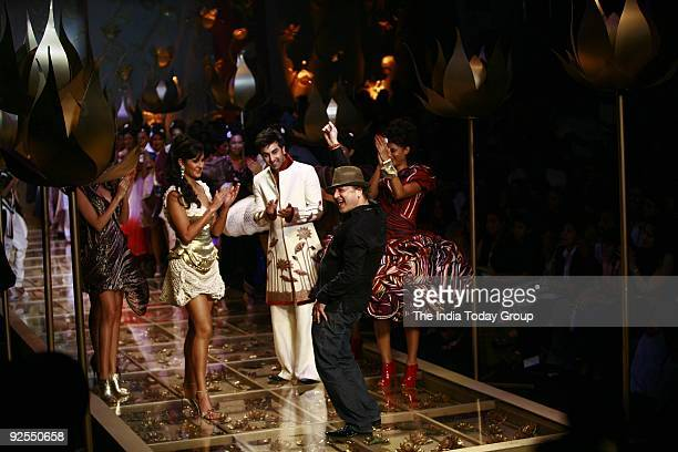 Designer Rohit Bal along with Actors Ranbir Kapoor and Katrina Kaif walked the ramp at the Wills Lifestyle Grand Finale which took place at pragati...