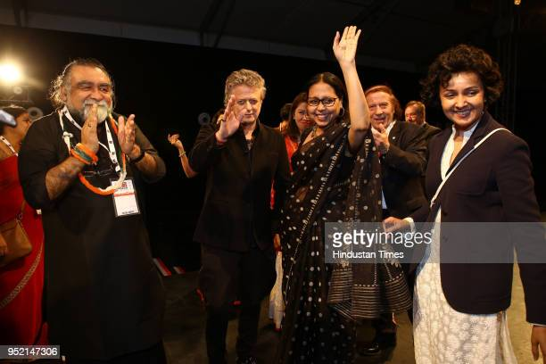 Designer Rohit Bal film director Prahlad Kakkar Designer Anju Modi and Payal Jain during the event Khadi Transcending Boundaries It included a...