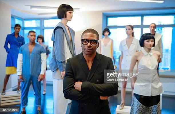 Designer Romeo Hunte poses at his presentation during Spring 2016 New York Fashion Week on September 10 2015 in New York City