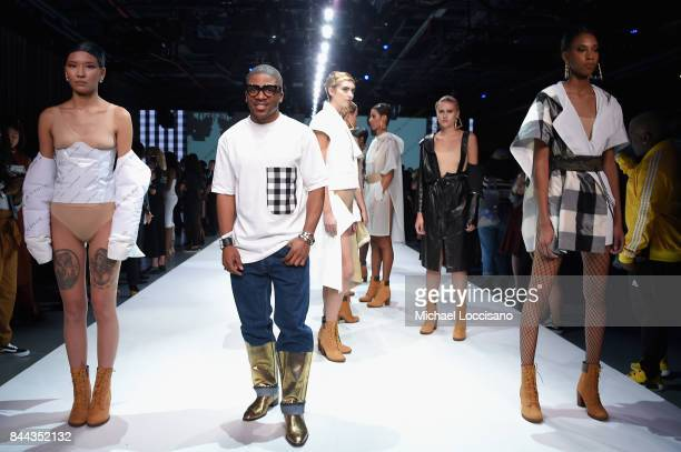 Designer Romeo Hunte poses on the runway at the Romeo Hunte fashion show during New York Fashion Week The Shows on September 8 2017 in New York City