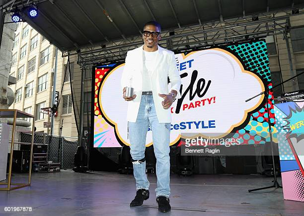 Designer Romeo Hunte receives the Designer to Watch award on stage during the 2016 Essence Street Style Block Party Show at DUMBO on September 10...