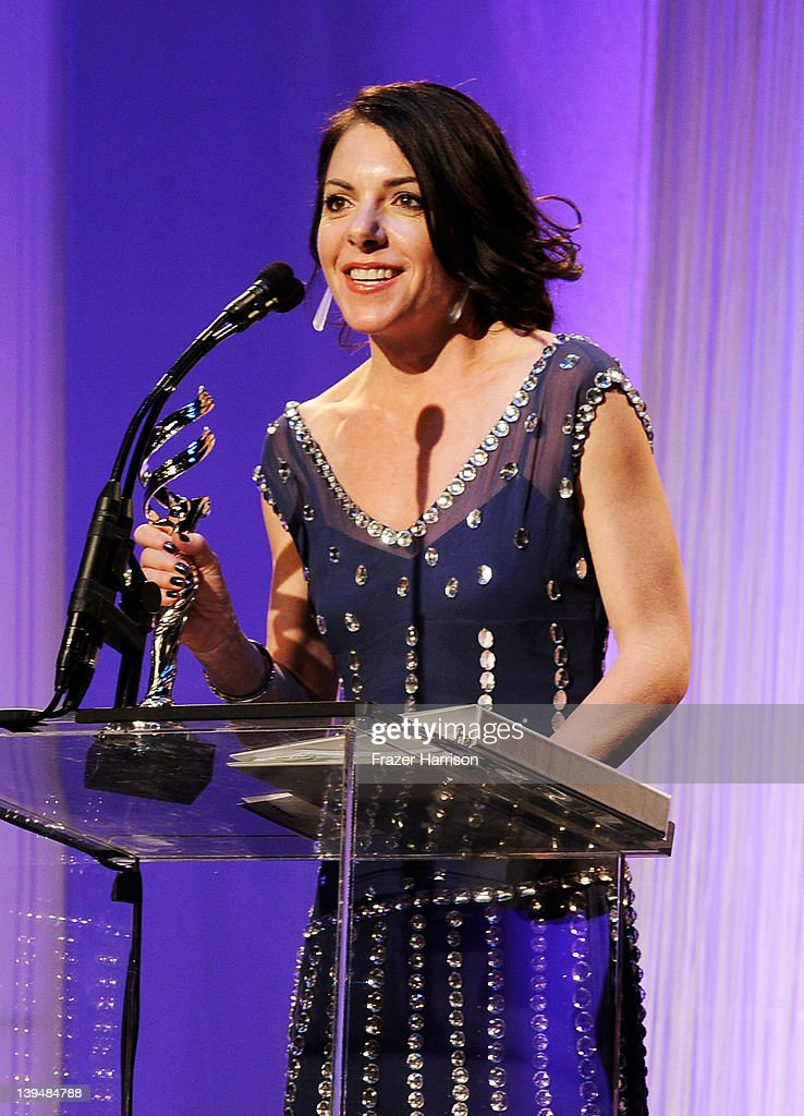 Designer Roseanne Fiedler accepts the Outstanding Commercial Costume Design Award onstage during the 14th Annual Costume Designers Guild Awards With Presenting Sponsor Lacoste held at The Beverly Hilton hotel on February 21, 2012 in Beverly Hills, California.