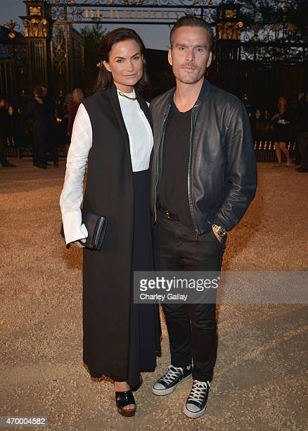 Designer Rosetta Millington and actor Balthazar Getty attend the Burberry London in Los Angeles event at Griffith Observatory on April 16 2015 in Los...
