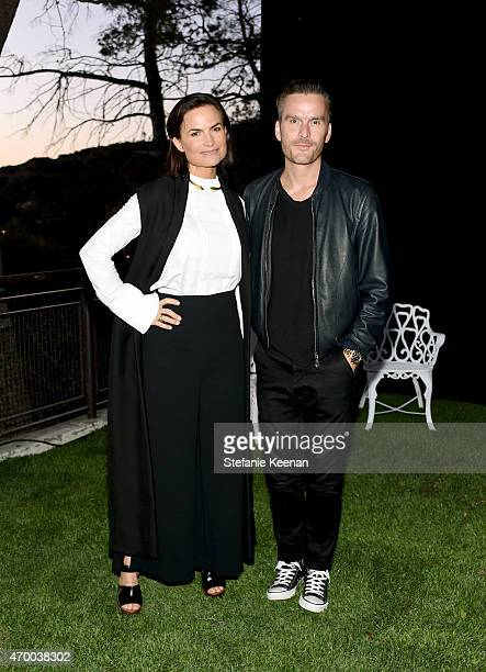 "Designer Rosetta Millington and actor Balthazar Getty attend the Burberry ""London in Los Angeles"" event at Griffith Observatory on April 16, 2015 in..."