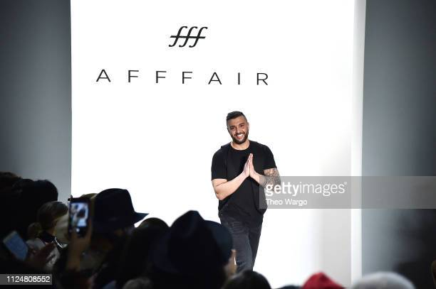 Designer Rufat Ismayilov walks the runway at the Afffair front row during New York Fashion Week The Shows at Gallery II at Spring Studios on February...