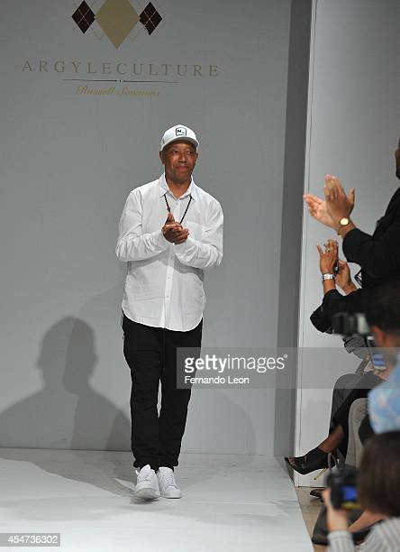 Designer Russell Simmons takes a bow during the Argyleculture By Russell Simmons fashion show at Helen Mills Event Space on September 5 2014 in New...