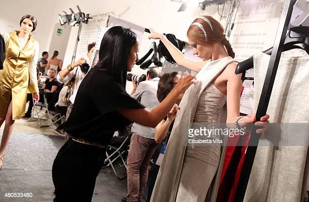Designer Sabrina Persechino is seen backstage at Sabrina Persechino fashion show as part of AltaRoma AltaModa Fashion Week Fall/Winter 2015/16 at...