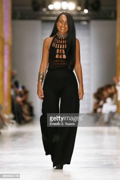 Designer Sabrina Persechino walks the runway at the Sabrina Persechino show during Altaroma at Palazzo delle Esposizioni on June 27 2018 in Rome Italy