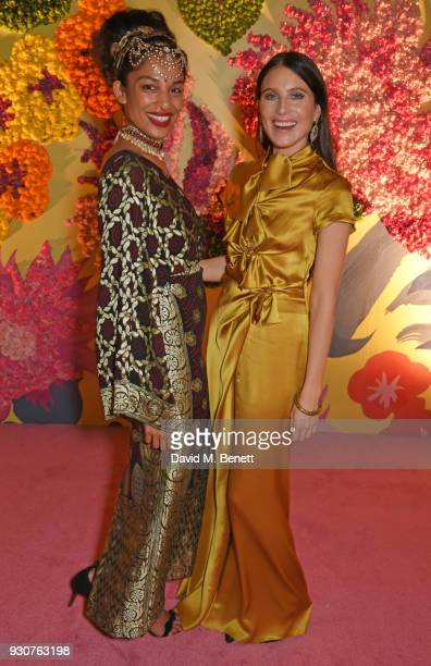Designer Saloni Lodha and Dree Hemingway attend the Holi Saloni celebrations in the RAAS Devigarh on March 9 2018 in Udaipur India