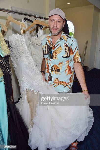 Designer Samuel Cirnansck prepares backstage during Aruba In Style 2012 Wedding Champagne Brunch with Samuel Cirnansck at Windows on Aruba at Divi...