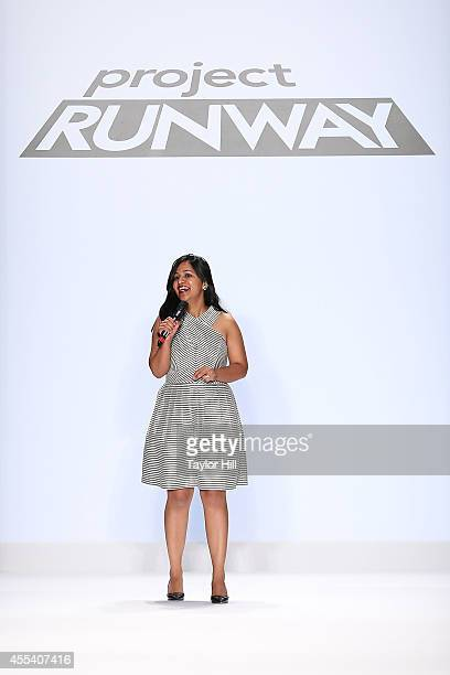 Designer Sandhya Garg presents her collection during the Project Runway Season 13 Finale Show at MercedesBenz Fashion Week Spring 2015 at The Theatre...