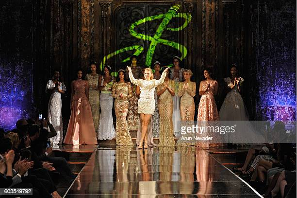 Designer Sanja Bobar walks the runway during the Sanja Bobar show at Art Hearts Fashion NYFW The Shows presented by AIDS Healthcare Foundation at The...