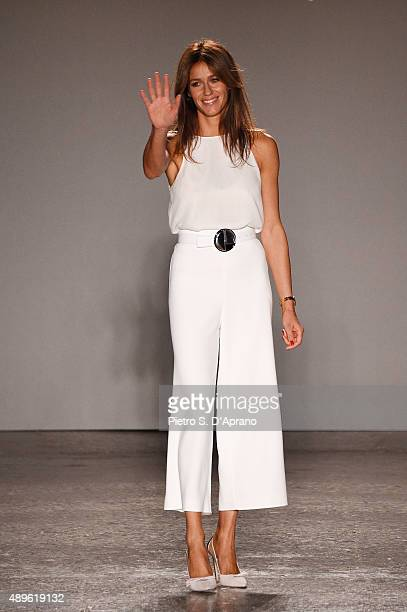 Designer Sara Cavazza Facchini walks the runway during the Genny fashion show as part of Milan Fashion Week Spring/Summer 2016 on September 23 2015...