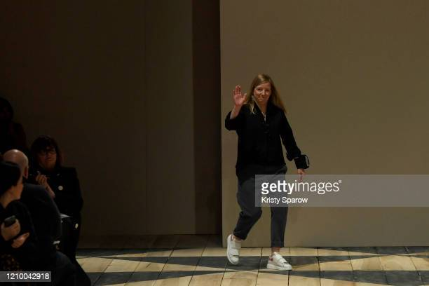 Designer Sarah Burton acknowledges the audience during the Alexander McQueen as part of Paris Fashion Week Womenswear Fall/Winter 2020/2021 on March...