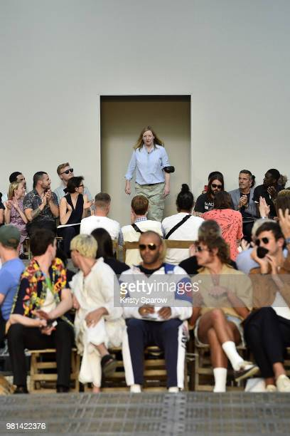Designer Sarah Burton acknowledges the audience during the Alexander McQueen Menswear Spring/Summer 2019 show as part of Paris Fashion Week on June...