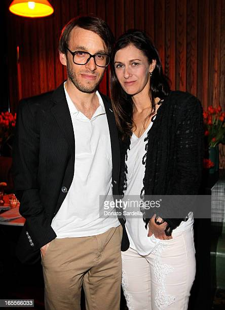 Designer Scott Sternberg and Sally Singer attend Vogue's Triple Threats dinner hosted by Sally Singer and Lisa Love at Goldie's on April 3 2013 in...