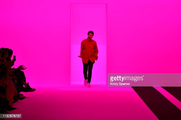 Designer Sebastien Meunier acknowledges the audience during the Ann Demeulemeester show as part of the Paris Fashion Week Womenswear Fall/Winter...