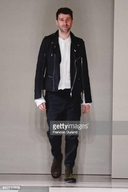 Designer Sebastien Meunier walks the runway during the Ann Demeulemeester show as part of the Paris Fashion Week Womenswear Fall/Winter 2017/2018 on...