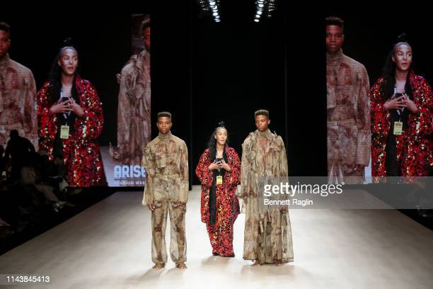 Designer Selam Fessahaye greets the audience during Arise Fashion Week on April 19 2019 in Lagos Nigeria