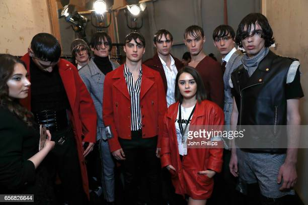 Designer Selen Akyuz and models pose backstage ahead of the New Gen show during MercedesBenz Istanbul Fashion Week March 2017 at Grand Pera on March...