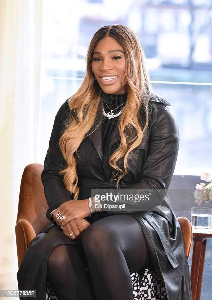 Designer Serena Williams speaks during the S By Serena Presentation during New York Fashion Week The Shows at Spring Place on February 12 2020 in New...