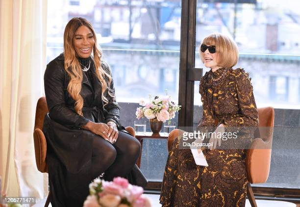 Designer Serena Williams speaks with Anna Wintour at the S By Serena Presentation during New York Fashion Week The Shows at Spring Place on February...