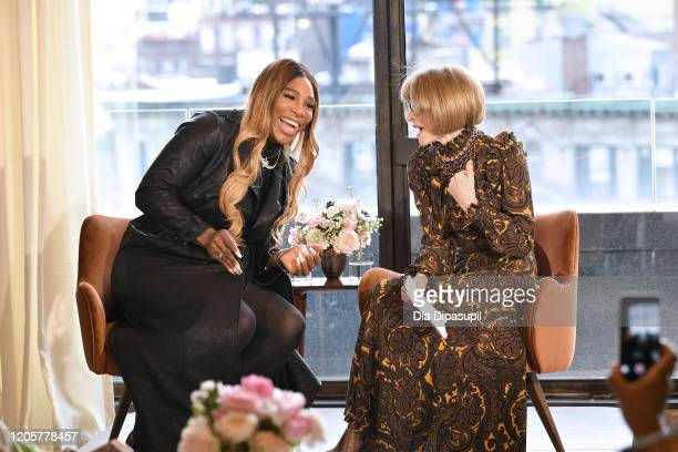 Designer Serena Williams speaks with Anna Wintour during the S By Serena Presentation during New York Fashion Week The Shows at Spring Place on...