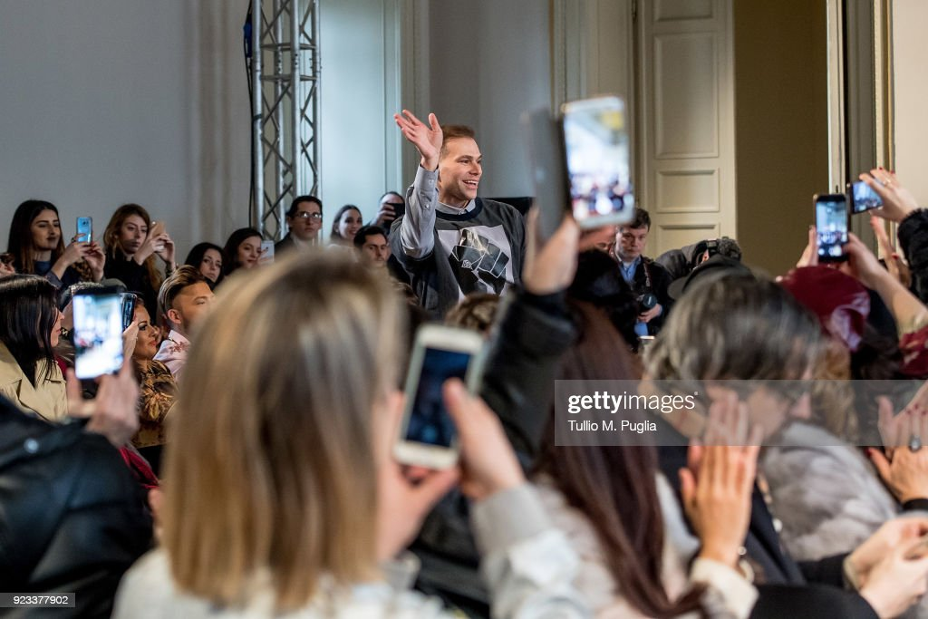 Designer Sergei Grinko acknowledges the audience at the end of the Grinko show during Milan Fashion Week Fall/Winter 2018/19 on February 23, 2018 in Milan, Italy.
