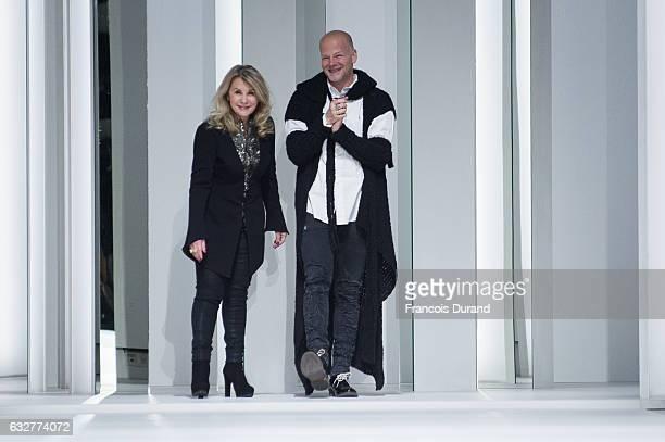 Designer Sharon Sever and Galia Lahav walk the runway during the Galia Lahav Spring Summer 2017 show as part of Paris Fashion Week on January 26 2017...
